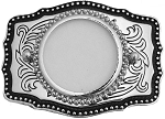 Silver Dollar Belt Buckle Silver Black 3-1/4 x 2-1/4 Made in USA