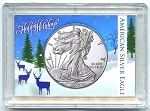 American Silver Eagle Happy Holidays Reindeer Whitman Frosty Case 2