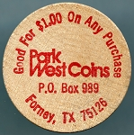 Park West Coins Encino California, Wooden Nickel