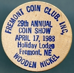 Fremont Coin Club Fremont, NE, 1988, Wooden Nickel