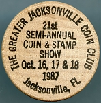 Greater Jacksonville Coin Club 1987, USS Stark FFG-31, Wooden Nickel