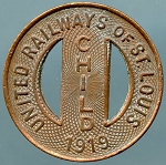 1919 United Railways Co of St Louis Transit Token Child's Fair