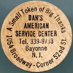 Dan's American Service Center Wooden Nickel