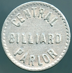 Central Billiard Parlor 2-1/2 Cent Good For Token