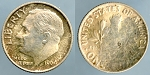1964 Roosevelt Dime, partial reverse Brockage Mint State