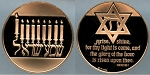 1986 Franklin Mint - Menorah - Holiday Bronze Medal Proof - In Air-Tite Capsule