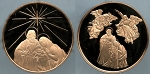1987 Franklin Mint - Joseph, Mary and Baby Jesus - Holiday Bronze Medal Proof - In Air-Tite Capsule