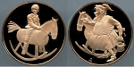 1983 Franklin Mint - Child on a Rocking Horse - Holiday Bronze Medal Proof - In Air-Tite Capsule