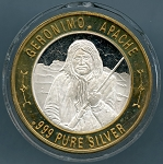 Geronimo Apache Native American Casino Gaming Token .999 Silver Limited Ed.