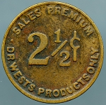 1933 Dr. West Products Only 2-1/2 Cents Sales Premium - Advertising Token