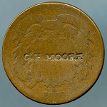 1869 Two Cent Piece Countermarked