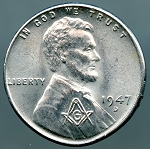 1947-D Lincoln Cent with Masonic Countermark