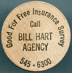 Wooden Nickel BILL HART AGENCY - Milwaukee, Wisconsin