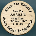 Wooden Nickel ASSOC. FOR WOMEN'S / GOOD FOR / A.W.A.R.E.'S