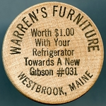 Wooden Nickel WARREN'S FURNITURE - Westbrook, Maine