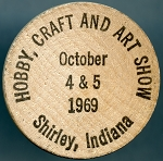 Wooden NIckel Hobby, Craft and Art Show 1969 Shirley Indiana