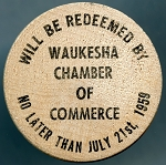 Wooden Nickel Waukesha Wisconsin 125th. Jubilee 1959