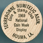 Wooden Nickel - Terrebonne Numitelic Assn. 1969 Coin & Stamp Club