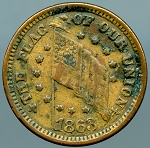 Civil War Token - THE FLAG OF OUR UNION / 1863 - VF
