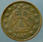 Civil War Token - 1863  STEPPACHER. / AGT. / ORLEANS / HOUSE. / 531 / CHESNUT ST. / PHILA.