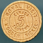 1959 CANADA WOODEN NICKEL - Queen Elizabeth & Prince Philip Royal Visit