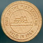 CANADA WOODEN NICKEL MAID OF THE MIST 1964 Niagara Falls