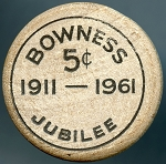Bowness Alberta Canada WOODEN NICKEL 1911-1961 Jubilee 5 cent