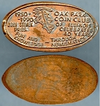 Elongated Cent Oak Park Coin Club Celebrating 40 Years 1950-1990 John Stimek President Unc