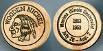 Token 1953 Wooden Nickel Wenona Illinois Centennial July 26 - Aug. 2 Au/Unc