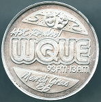 1986 WQUE Hit Radio Mardi Gras doubloon