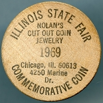 Illinois State Fair Nolan's Cut out coin jewelry, Wooden Nickel