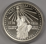 1976 Statue of Liberty American Revolution Bicentennial Commemorative Sterling Silver Medal Capsule Only