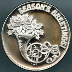 Season's Greetings Two Troy Ounce .999 Fine Silver Round