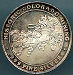 Historic Colorado Mining Stagecoach Prospector .999 fine silver round