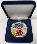 2002 Painted Silver American Eagle 1 oz. .999 Fine Silver
