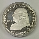 1974 John Adams American Revolution Bicentennial Commemorative Sterling Silver Medal in Capsule Only!