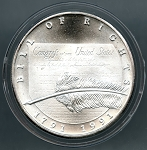 1991 Chrysler Bill of Rights Silver Commemorative 1 oz. coin - .999 fine silver