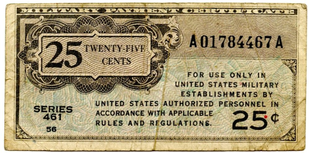 25 Cent Military Payment Certificate Series 461 Mpc 3 Very Good