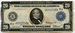 $20.00 Federal Reserve Note Series 1914 Blue Seal - J1522745A - Kansas City, F1000, Rag