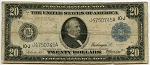 $20.00 Federal Reserve Note Series 1914 Blue Seal - J4750745A - Kansas City, F1000, VG
