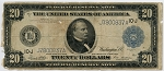 $20.00 Federal Reserve Note Series 1914 Blue Seal - J7800837A - Kansas,F1003,Rag