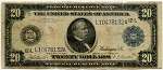 $20.00 Federal Reserve Note Series 1914 Blue Seal - L10478132A - San Francisco, F1010, VG