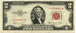 $2.00 Legal Tender Series 1953 B - *02886643A, F1511 Star, AU