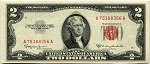 $2.00 U.S. Note (Legal Tender) 1953C - A75388356A, F1512 AU