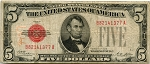 $5.00 U.S. Note (Legal Tender) Series 1928 - B82141377A,F1525,VG-Ink