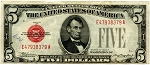 $5.00 U.S. Note (Legal Tender) Series 1928-B - E47938379A, F1527, VF-Ink on Obverse