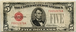 $5.00 U.S. Note (Legal Tender) Series 1928-C  - F06012879A,F1528,VF