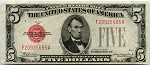 $5.00 U.S. Note (Legal Tender) Series 1928-C  - F20935685A, F1528, XF