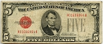 $5.00 U.S. Note (Legal Tender) - 1928E - H01696864A, F1530, VG