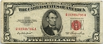 $5.00 U.S. Note (Legal Tender) Series 1953 - B00984786A, F1532, Fine
